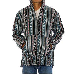 Men's woven full zip boho hoodie